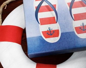 Maritime Nautical Flip Flops Wall Art Room Decor Print for Nursey, Big Kid Girl or Boy, Office, Kitchen, Living Room, Bedroom Artwork
