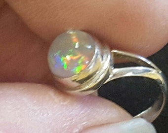 Mexican Fire Opal Amazing Natural Untreated Crystal Clear 3ct Free-Form Opal Sterling Silver Ring