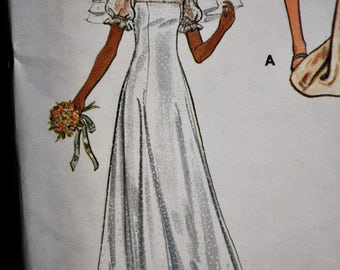 1970's Bridal Gown and Bridesmaid dresses - Size 8 - UNCUT - Butterick 3164