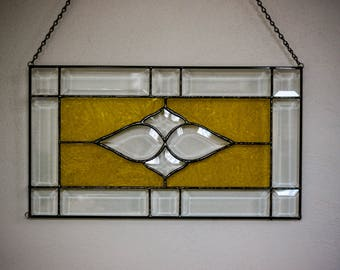 Stained Glass Panel, Gold Frost Glass & bevels