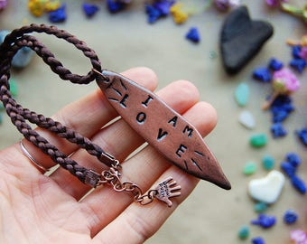Clay Pendant Necklace - Custom Stamped Earthy Clay Spiritual Jewelry Gift