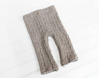 Snuggles Make the World Go Round - newborn pants in a charcoal slate grey taupe sweater cable knit  (RTS)