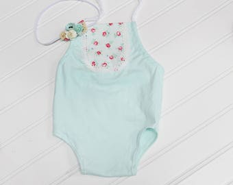 Mint Blossoms - darling halter romper in a mint knit with floral bib front in raspberry pink, fuchsia, mint and red (RTS) includes headband