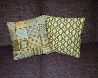 Handmade Needlepoint Pillows Set of 2 Green Yellow Intricate Designs Retro Geometric Pattern Velveteen Like Backing.