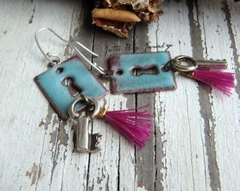 Treasured- artisan enamel light turquoise key hole charms. tiny magenta tassels. pewter keys. ss ear wires. tassel jewelry. Jettabugjewelry