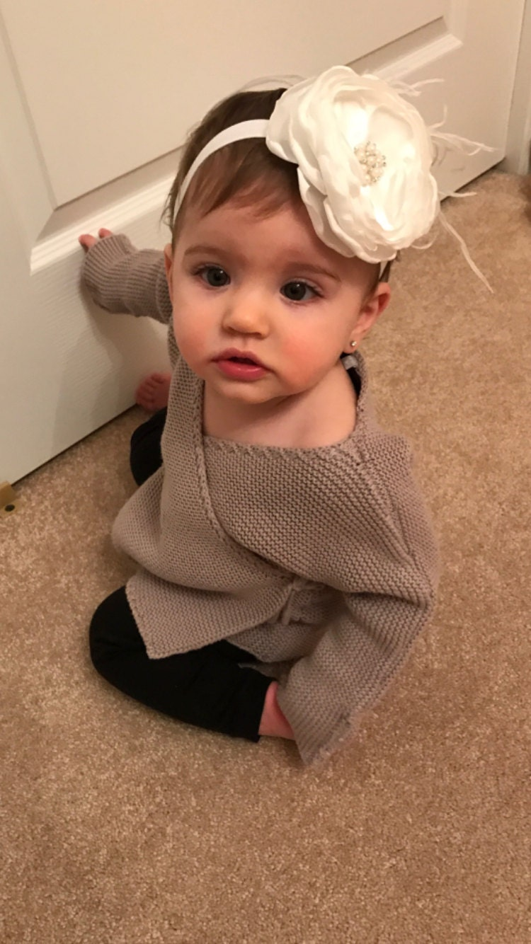 Infant Toddler Off White Chiffon Feather Headband