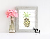 Be a Pineapple Stand Tall Wear a Crown and Be Sweet on the Inside, Wall Print, W1024