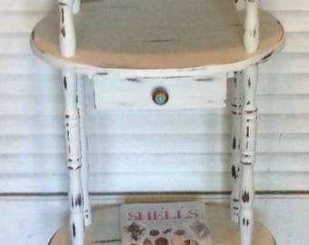 Vintage Shabby Chic White Nightstand/Side Table