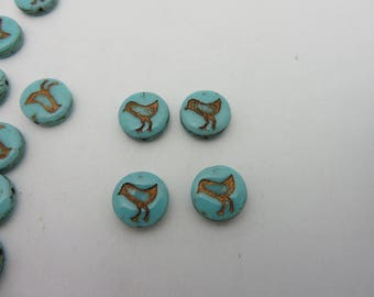 New Listing! Spring Chicks 12mm CZECH GLASS Coin Beads in Opaque Turquoise with Bronze (10 Beads ) Always Low Shipping