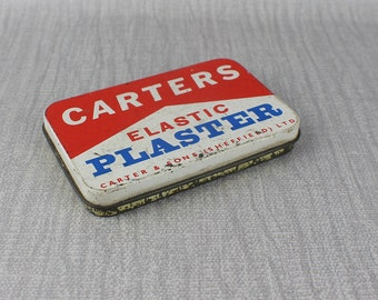 Vintage Worn Carters Elastic Plaster Carter & Sons Tin with Lid Rectangular Empty