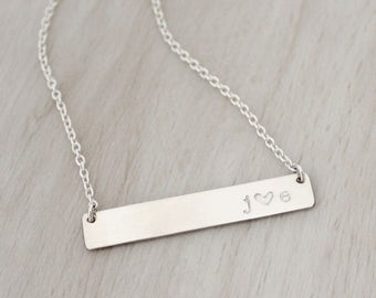 Initial Bar Necklace in Silver or Gold - Personalized Silver Bar Necklace - Gold Bar Necklace - Custom Initial Necklace