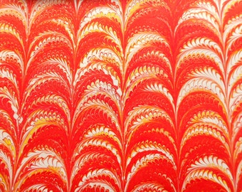 """Hand-Marbled Paper - Reds, oranges, yellow: """"Arches"""". For Framing, book endpapers, paper arts, collage, bookbinding."""