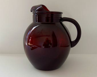 Royal Ruby Glass Pitcher/Anchor Hocking/Vintage Ball Glass Pitcher *Price Includes Domestic Shipping