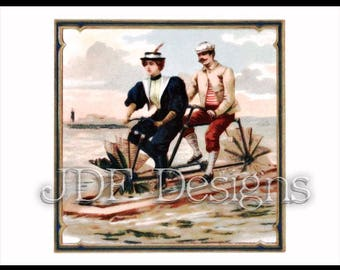 Instant Digital Download, Vintage Victorian Antique Graphic, Aqua Paddle Cycle, Nautical Novelty, Invention, Ocean, Steampunk, Bicycle
