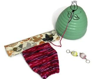 6in DPN holder, Birds, dpn cozy, double pointed needle holder, dpn case, knitting accessory, knitter gift, knitting case, knitting holder