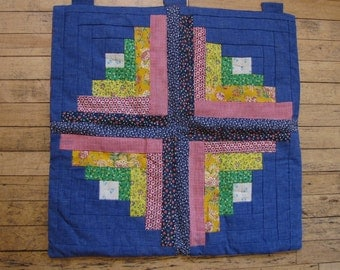 1970's Quilted Patchwork Wall Hanging, Quilted, Patchwork, Denim, Calico, Wall Hanging, Quilt, 1970's, Country Decor, Hippie, Boho, Bohemian