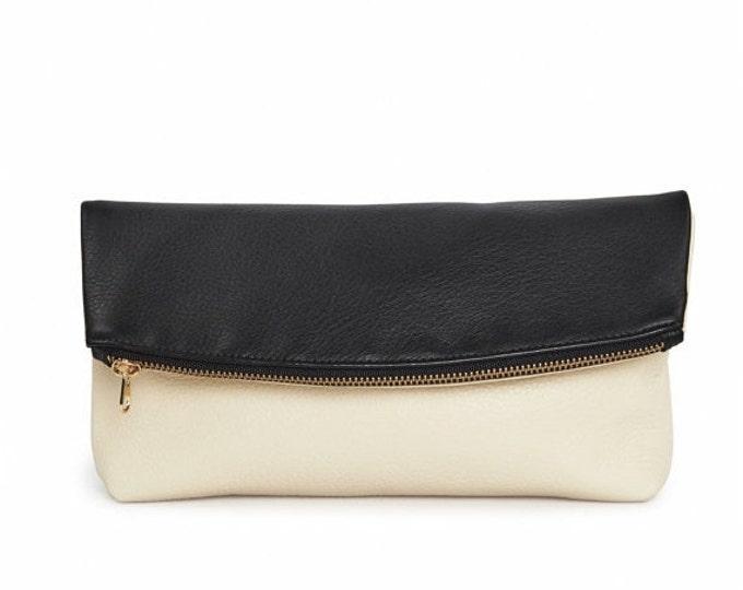 Black & cream leather foldover clutch block party