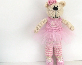"Big Bear Ballerina 11"" Tall, Gift for Girl, Custom Toy, Kids Gift, Plush Doll, Toy Teddy Bear, Kids Toy, Stuffed Animal, Child Toy Annie"