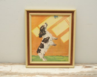 Vintage Springer Spaniel Dog Print with Butterfly