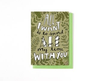Long Distance Relationship Card - Valentine's Day - Love Card - Anniversary Card - I Love You - Miss You Card - Plant Illustration - Ferns