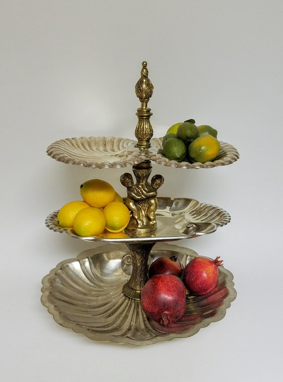 Silver Tiered Custom Stand ServingTray -- 3 Tier Silver Plate Serving Tray with Brass Cherub Ornate Pillars