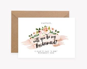 Personalised - Custom - Will you be my Bridesmaid - Maid of Honor - Bridesman - Wedding - Invitation - Flower Girl - Floral - Rustic Flowers