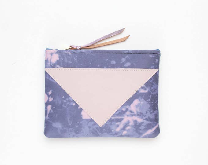 Cotton pouch-leather pouch-hand colored-tie dye-blue purple pink-make up bag-cosmetic purse-small leather purse-zipper pouch /SPLASH 82