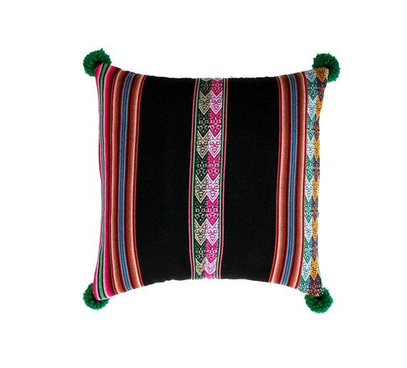 Pillow COVER,  Peruvian textile, black, pom poms