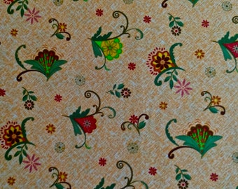 Folkloric Flowers on Gold Fabric 3 yd. x 44""