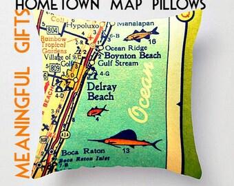 Delray Pillow Cover, Boyfriend Gift, Delray Map Pillow, Husband Gift, Boynton Beach Husband Birthday Gifts for Boyfriend, Map Throw Pillow