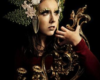 Glistening glitter Pheasant bird jungle headdress tiara crown headpiece gown fascinator hat headdress fashion accessory