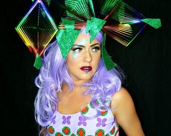 All Angles Rainbow avant garde structural crown wearable art sculpture headpiece,runway,fashion accessory,headdress, festival, costume