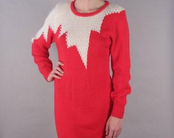 Fabulous 80s Red Knit Sweater Dress w White Zig Zag Bib + Pearl Beading