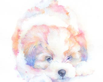 Dog, puppy, doggy, dog print, animal print, giclee, art, Watercolor, watercolor art print, Colorful Puppy original watercolor giclee print