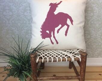Cowboy Pillow Cover Western Bronco Horse