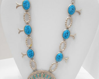 Vintage Faux Turquoise Southwestern Style Necklace (7693)