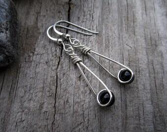 Black Onyx Sterling Moon Catcher (TM) Earrings - Minimalist