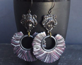 medusa jewelry mythical creature gorgon black hoop earrings