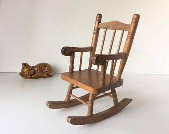Doll Rocking Chair, Vintage Wooden Rocker, Toy Rocking Chair, Heritage Mint Rocking Chair, Toy Furniture, Doll Furniture