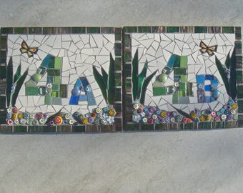 House Number Sign, plaque, door plate, address sign, ceramic, outdoor sign, custom number, letter, mosaic, made to order, bespoke ,nameplate