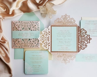Blush Wedding Invitation Laser cut with double layer - Laser cut blush wedding invite with custom bellyband {Begonia design - Sku: BegBar01}