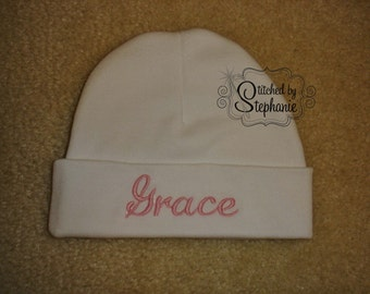 Custom personalized monogrammed personalized name pink on white newborn baby girl hat