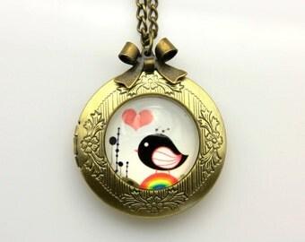 Necklace locket  tiny bird cute 2020m