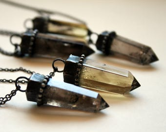 Small Smoky Quartz Crystal Tower Necklace // Natural Smoky Quartz Point Necklace // Smoky Quartz Obelisk Necklace