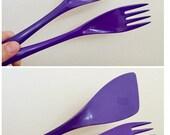 Reserved for Jane -- Vintage Purple Rosti Melamine Utensils