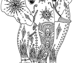 Elephant Coloring Page - Instant Download - Elephant Art - Adult Coloring