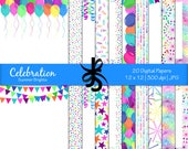 Digital Scrapbook Papers-Celebration-Summer Brights-Birthday Papers-Party-Balloons-Confetti-Banners-Backgrounds-Instant Download Clip Art