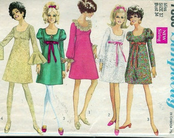 """Vintage 1968 Simplicity 7895 Mod Dress With Three Sleeves Sewing Pattern Size 12 Bust 34"""""""