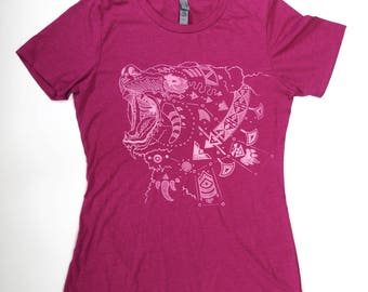 Ursa Major Mama Bear on a Lush Berry Pink Soft Cotton Screen Printed Tee