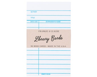 CLASSIC WHITE Library Cards. Set of 50 classic library cards. Stationery. Back to school supplies.